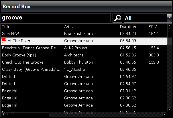 Record box, which is easily searchable to find songs quickly